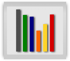 Simplified image that represents a graph. Six colored vertical bars of differing colors.