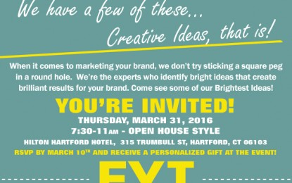 12th Annual Promotional Product Showcase.  Open House – Thursday March 31, 2016 from 7:30am-11am at the Hilton Hartford Hotel.