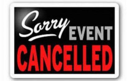 HRLA April Event Cancelled
